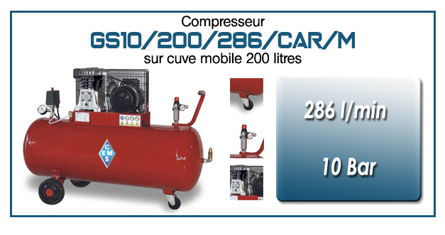 Compresseur à courroie GS10-286 l/min sur cuve mobile 200 litres
