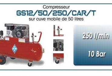 Compresseur à courroie GS12-250 l/min sur cuve mobile 50 litres