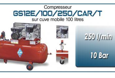 Compresseur à courroie GS12E-250 l/min sur cuve mobile 100 litres