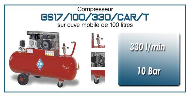 Compresseur à courroie GS17-330 l/min sur cuve mobile 100 litres