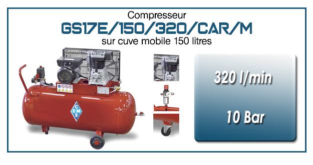 Compresseur à courroie GS17E-320 l/min sur cuve mobile 150 litres