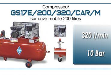 Compresseur à courroie GS17E-320 l/min sur cuve mobile 200 litres