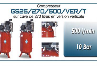 Compresseur à courroie GS25-500 l/min sur cuve verticale 270 litres