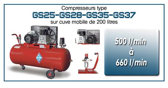 Compresseurs type GS25 28 35 37 cuve mobile 200 litres ems