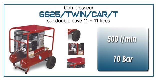 Compresseur à courroie GS25-500 l/min sur double cuve 11+11 litres