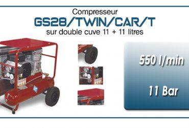 Compresseur à courroie GS28-550 l/min sur double cuve 11+11 litres
