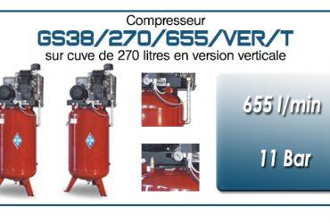 Compresseur à courroie GS38-655 l/min sur cuve verticale 270 litres
