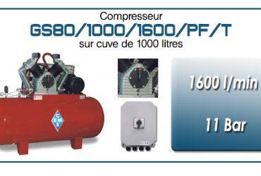 Compresseur à courroie GS80-1600 l/min sur cuve 1000 litres