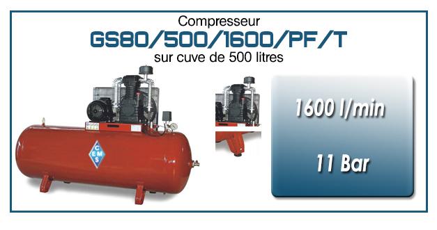 Compresseur à courroie GS80-1600 l/min sur cuve 500 litres