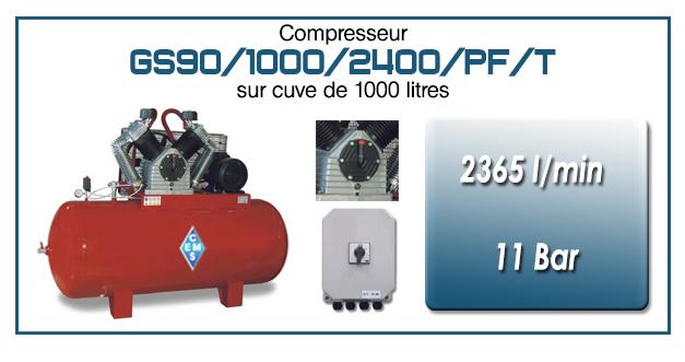 Compresseur à courroie GS90-2365 l/min sur cuve 1000 litres