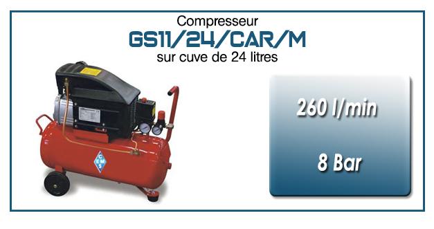 Compresseur coaxial GS11-260 l/min sur cuve mobile 24 litres