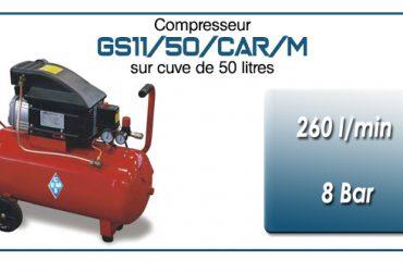 Compresseur coaxial GS11-260 l/min sur cuve mobile 50 litres