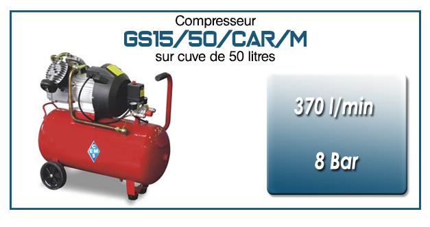 Compresseur coaxial GS15-370 l/min sur cuve mobile de 50 litres