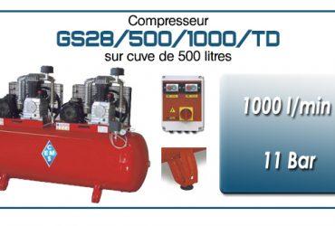 Compresseur tandem GS28-1000 l/min sur cuve 500 litres