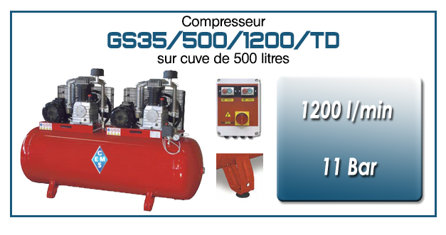 Compresseur tandem GS35-1200 l/min sur cuve 500 litres