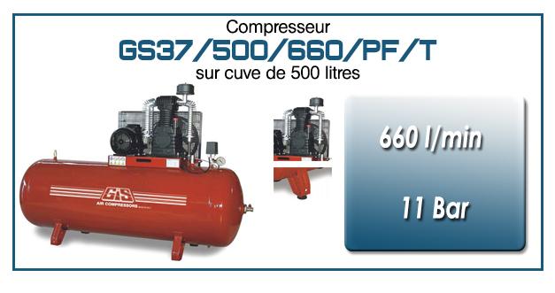 Compresseur à courroie GS37-660 l/min sur cuve 500 litres
