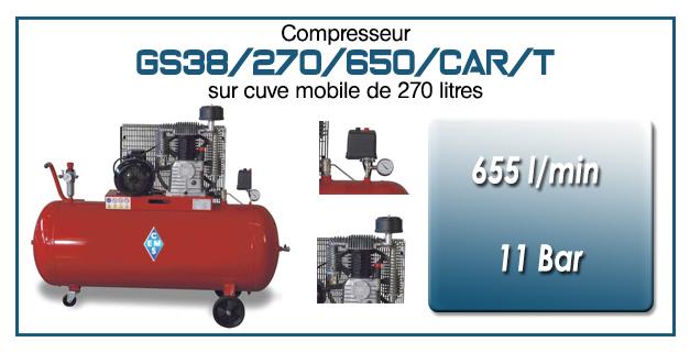 Compresseur à courroie GS38/270/650/CAR/T