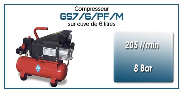 Compresseur coaxial GS7-205 l/min sur cuve mobile 6 litres