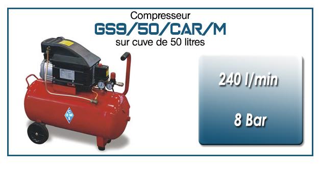 Compresseur coaxial GS9-240 l/min sur cuve mobile 50 litres