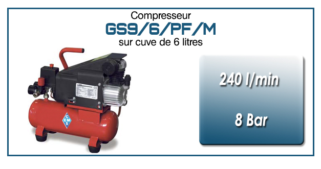 Compresseur coaxial GS9-240 l/min sur cuve mobile 6 litres