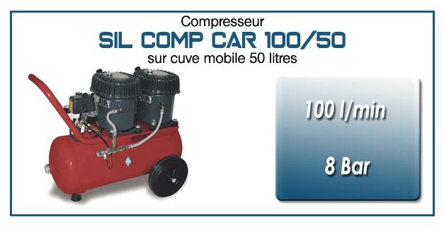 Compresseur silencieux SIL COMP – 100 l/min sur cuve mobile 50 Litres