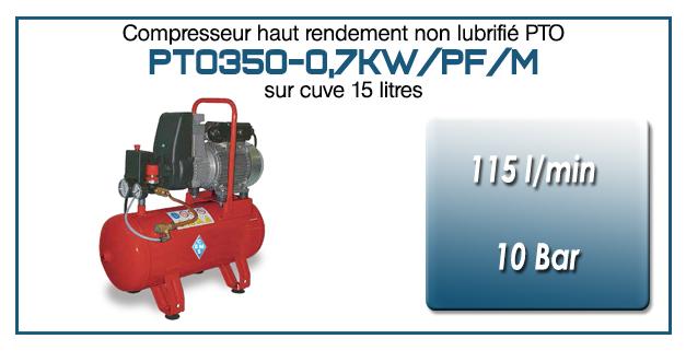 Monocylindre Oilless type PTO350 – 115 l/min sur cuve fixe de 15 litres