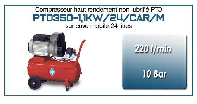 Compresseur monocylindre Oilless type PTO350 – 220 l/min sur cuve mobile de 24 Litres