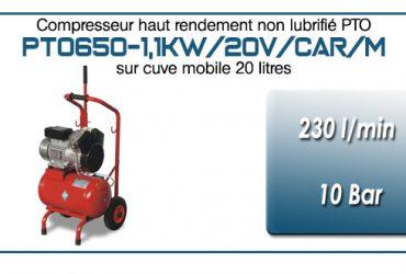 Compresseur bicylindre Oilless type PTO650 – 230 l/min sur cuve mobile de 20 Litres