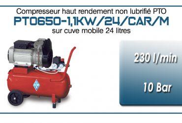 Compresseur bicylindre Oilless type PTO650 – 230 l/min sur cuve mobile de 24 Litres