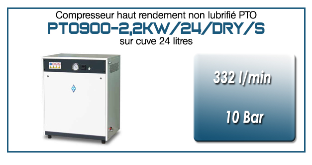 Compresseur tricylindre Oilless type PTO900 – 332 l/min sur cuve de 24 Litres, avec sécheur par absorption et refroidisseur