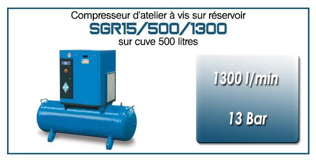 Compresseur à vis sur réservoir 500 litres type SGR15 – 1300 l/min