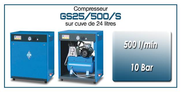 Compresseur silencieux avec réservoir 24 litres type GS25 – 500 l/min
