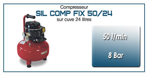Compresseur silencieux SIL COMP – 50 l/min sur cuve fixe 24 litres