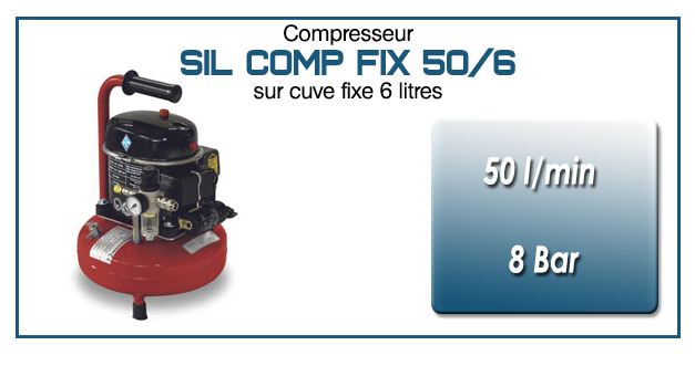 Compresseur silencieux SIL COMP – 50 l/min sur cuve fixe 6 litres