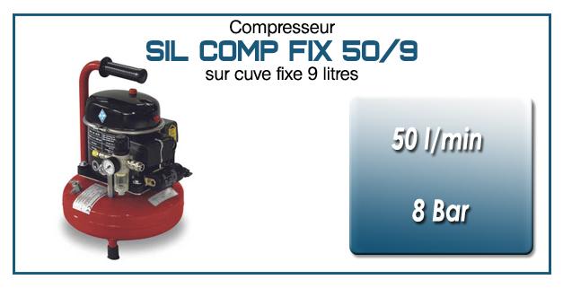 Compresseur silencieux SIL COMP – 50 l/min sur cuve fixe 9 litres