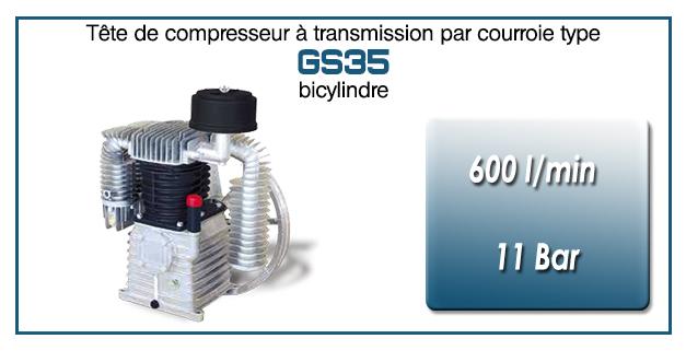 Tête de compresseur à transmission par courroie type GS35