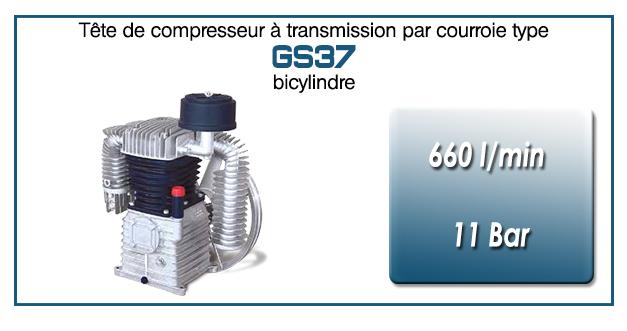 Tête de compresseur à transmission par courroie type GS37