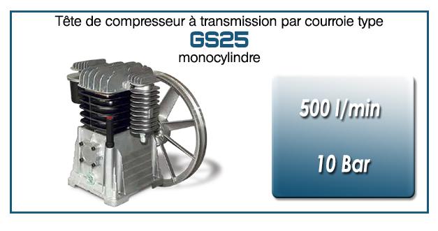 Tête de compresseur à transmission par courroie type GS25