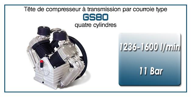 Tête de compresseur à transmission par courroie type GS80