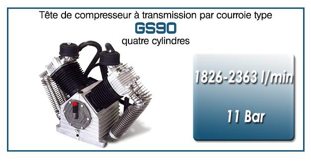 Tête de compresseur à transmission par courroie type GS90