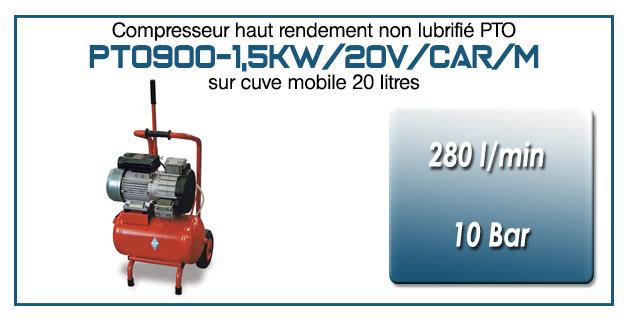 Compresseur tricylindre Oilless type PTO900 – 280 l/min sur cuve mobile de 20 Litres