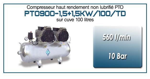 Compresseur tricylindre Oilless en duo type PTO900 – 560 l/min sur cuve fixe de 100 Litres