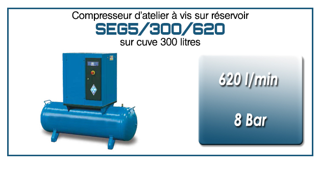 Compresseur à vis sur réservoir 300 litres type SEG5 – 620 l/min