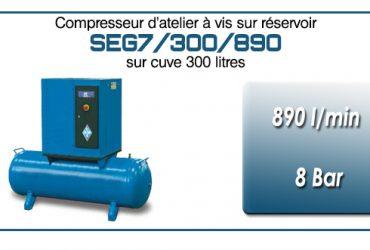 Compresseur à vis sur réservoir 300 litres type SEG7 – 890 l/min