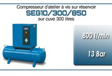 Compresseur à vis sur réservoir 300 litres type SEG10 – 850 l/min