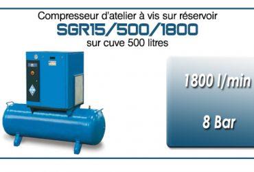 Compresseur à vis sur réservoir 500 litres type SGR15 – 1800 l/min