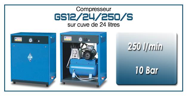 Compresseur silencieux avec réservoir 24 litres type GS12 – 250 l/min
