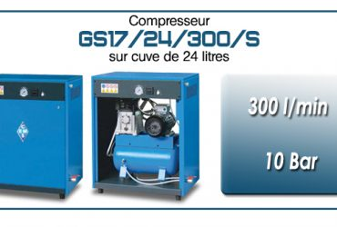 Compresseur silencieux avec réservoir 24 litres type GS17 – 300 l/min