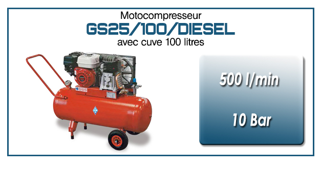 Moto-compresseur bicylindre sur réservoir mobile de 100 litres type GS25 – 500l/min avec moteur diesel