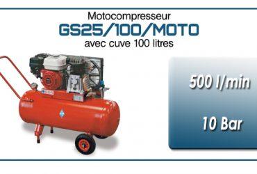 Moto-compresseur bicylindre sur réservoir mobile de 100 litres type GS25 – 500l/min avec moteur essence